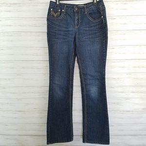 Earl jeans denim dark wash whiskered size 8